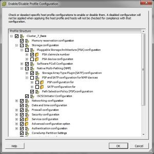 Enable - disable host profile configurations