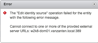 vCenter SSO identity source failed