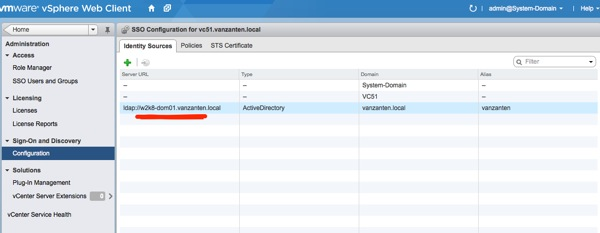 vCenter SSO configuration