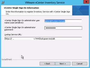VMware SSO details