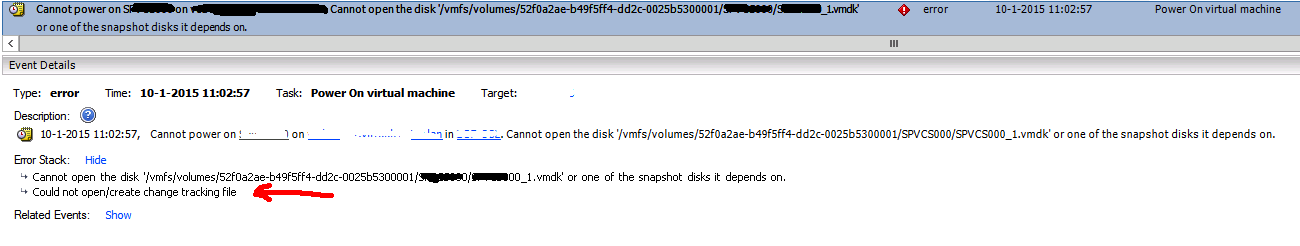Cannot open the disk and Cannot open change tracking file